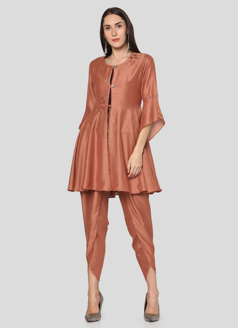 Salwar Suit Printed Muslin in Rust
