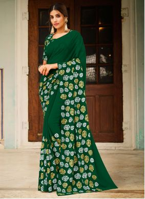 Saree Abstract Print Faux Georgette in Green