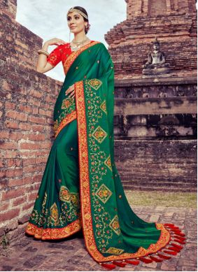 Saree Embroidered Silk in Green