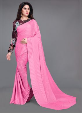 Pink Faux Georgette Fancy Work Saree For Casual