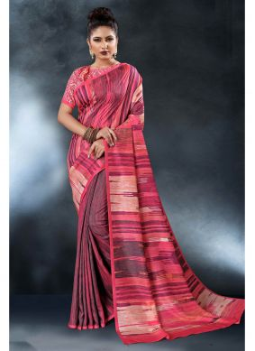Pink Saree For Festival