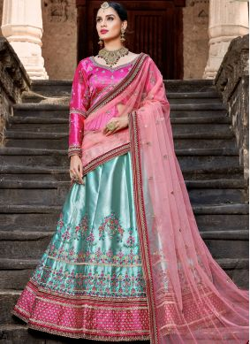 Satin Blue Embroidered Lehenga Choli