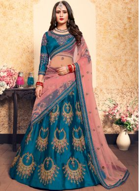 Satin Blue Zari Trendy Lehenga Choli