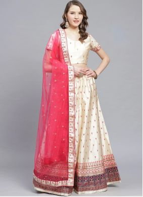 Cream Satin Ceremonial Trendy Lehenga Choli
