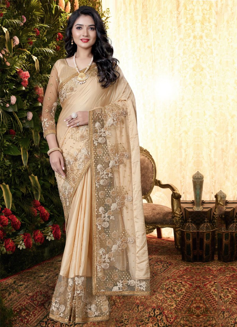 Satin Embroidered Cream Classic Saree