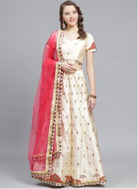 Satin Embroidered Off White Designer Lehenga Choli