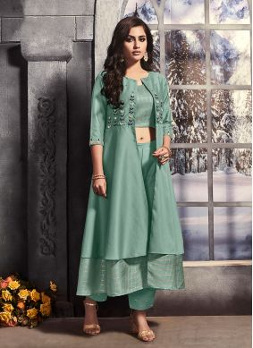 Satin Embroidered Pant Style Suit