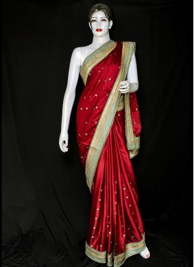 Satin Embroidered Red Designer Saree
