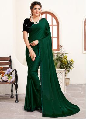 Satin Green Designer Saree