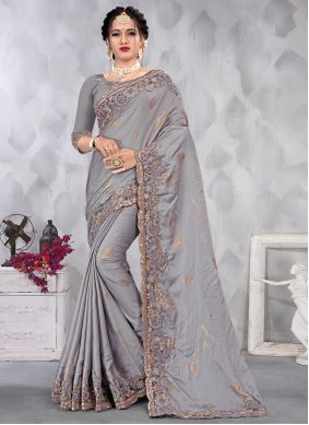 Satin Grey Designer Saree