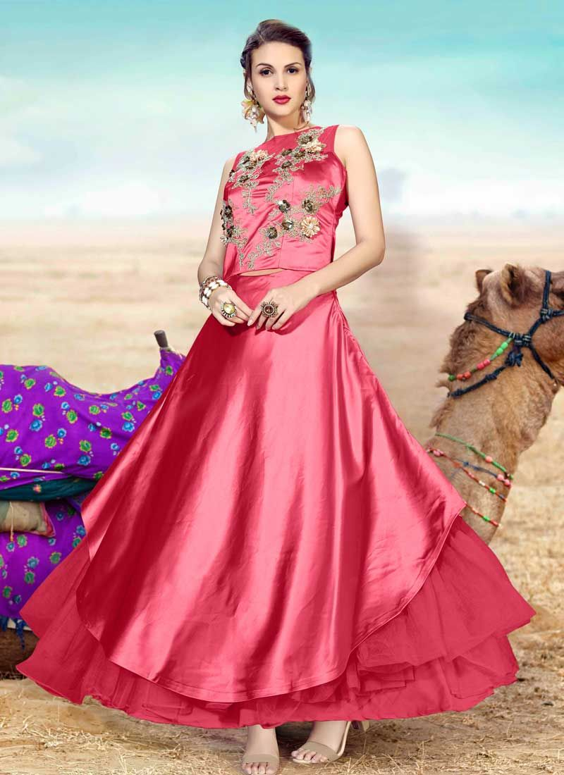 Satin Hot Pink Resham Readymade Gown