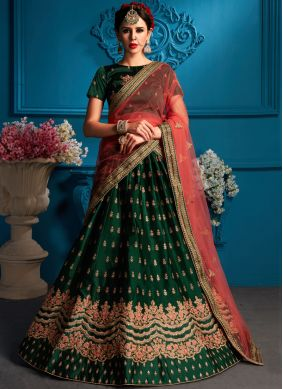 Satin Lehenga Choli in Green