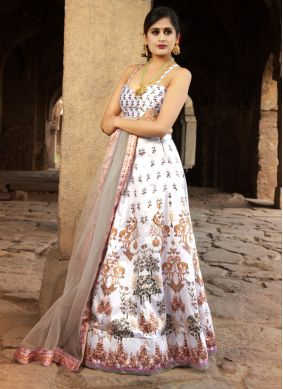 Satin Lehenga Choli in Off White