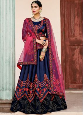 Satin Navy Blue Lehenga Choli