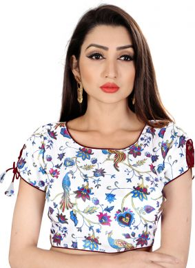 Satin Off White Designer Blouse