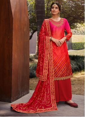Satin Pink and Red Designer Palazzo Suit
