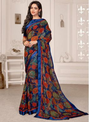 Satin Printed Multi Colour Saree
