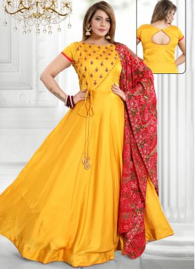 Satin Readymade Suit in Yellow