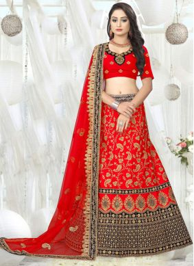 Satin Red Embroidered Designer A Line Lehenga Choli