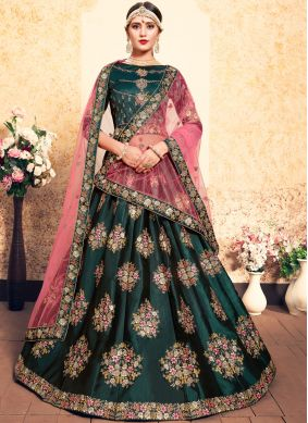 Satin Resham Designer Lehenga Choli in Green