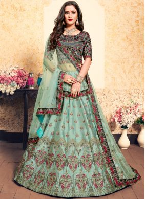 Satin Resham Designer Lehenga Choli in Sea Green