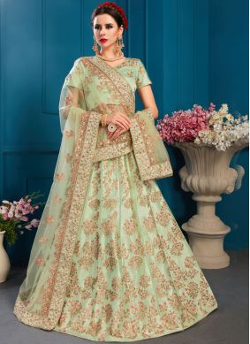 Satin Sea Green Zari Lehenga Choli