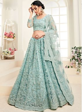 Satin Silk Aqua Blue Embroidered Designer A Line Lehenga Choli