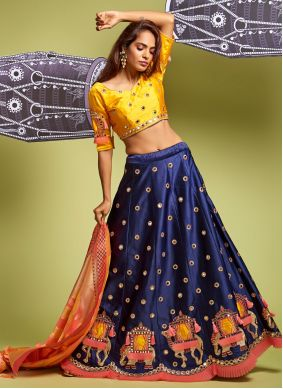Satin Silk Blue A Line Lehenga Choli