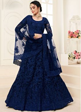 Satin Silk Blue Embroidered A Line Lehenga Choli