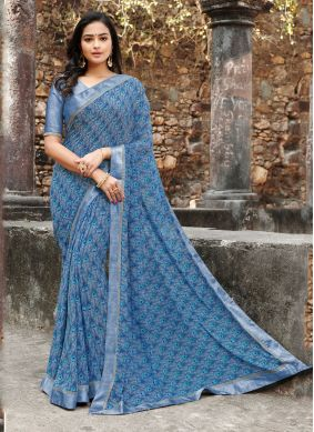 Satin Silk Blue Silk Saree