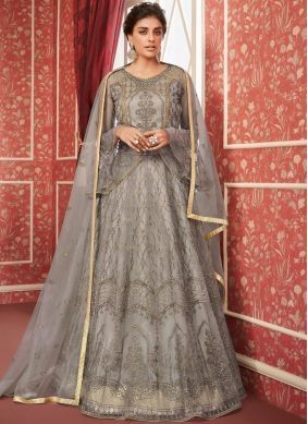 Satin Silk Embroidered A Line Lehenga Choli in Grey