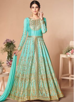 Satin Silk Embroidered Anarkali Salwar Suit in Turquoise
