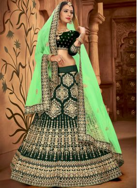 Satin Silk Embroidered Lehenga Choli in Green