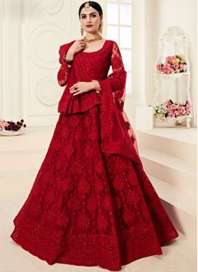 Satin Silk Embroidered Red Designer A Line Lehenga Choli