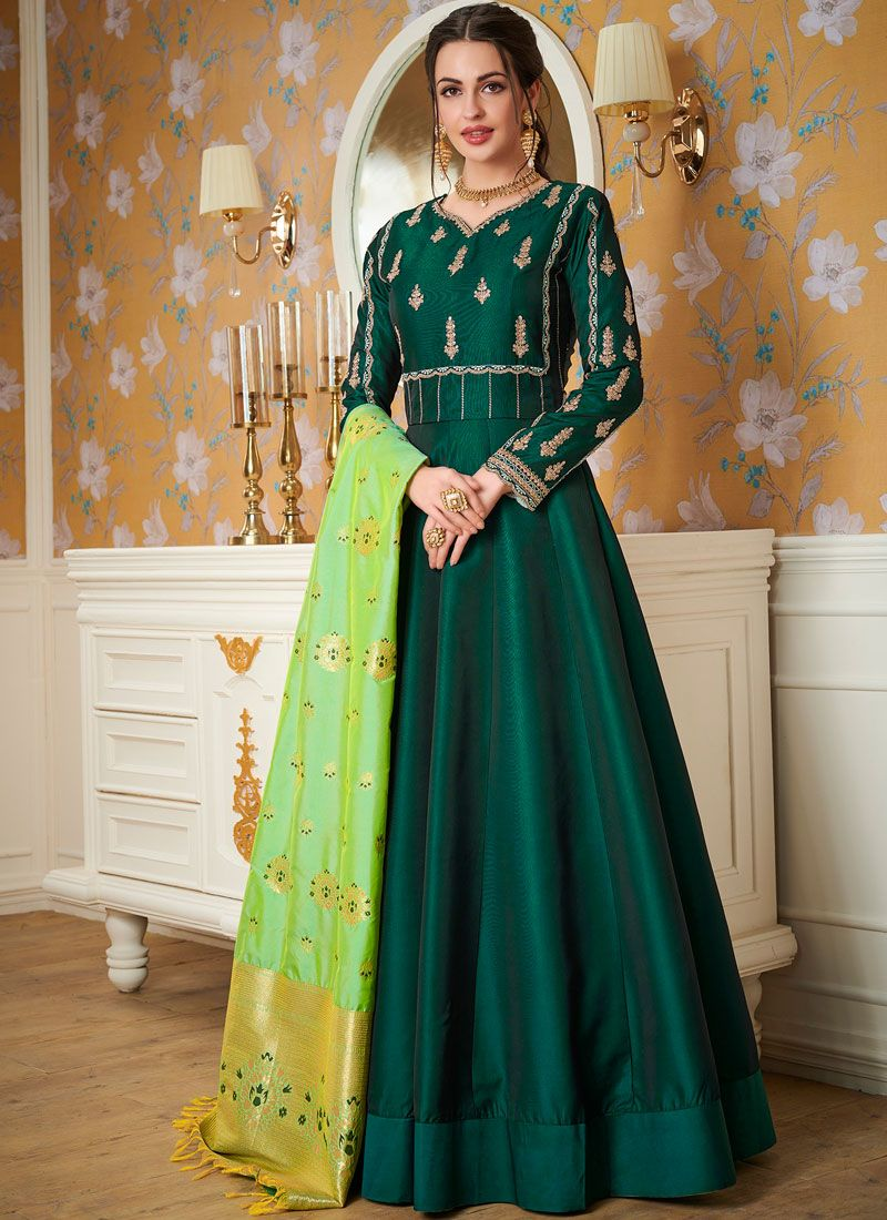 Satin Silk Green Resham Readymade Gown