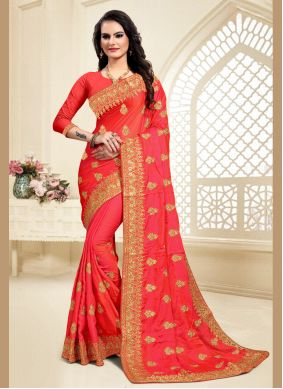 Satin Silk Red Embroidered Classic Saree