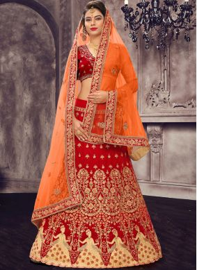 Satin Silk Red Lehenga Choli