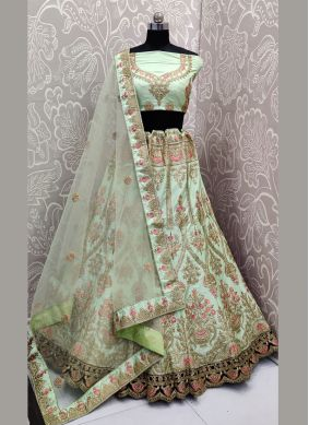 Satin Silk Trendy A Line Lehenga Choli in Sea Green