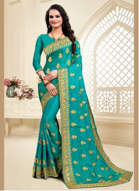 Satin Silk Turquoise Zari Traditional Saree