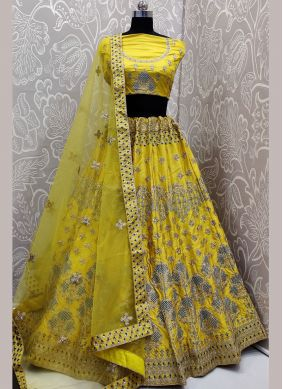 Satin Silk Yellow Lehenga Choli
