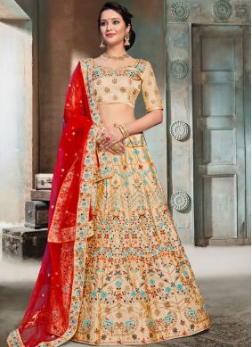 Satin Thread Designer Lehenga Choli in Beige