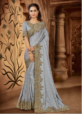 Satin Trendy Saree in Grey