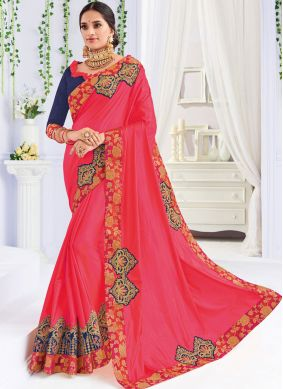 Savory Embroidered Hot Pink Traditional Saree