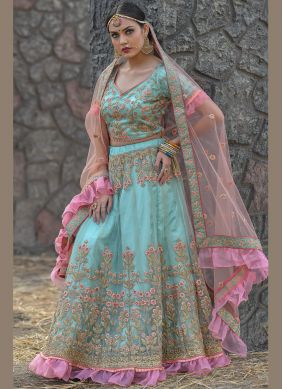 Savory Embroidered Net Aqua Blue A Line Lehenga Choli