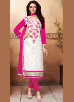 Savory White Festival Churidar Suit