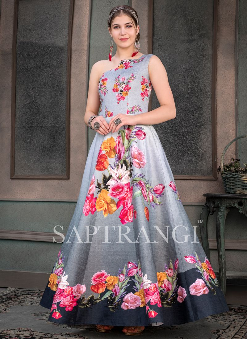 Scintillating Fancy Fabric Print Designer Gown