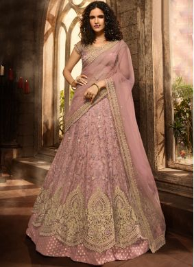Scintillating Net Embroidered Trendy A Line Lehenga Choli