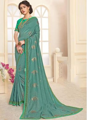 Scintillating Sea Green Mehndi Trendy Saree