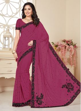 Scintillating Wine Designer Saree