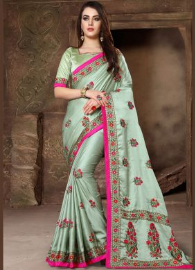 Sea Green Art Silk Resham Designer Traditional Saree